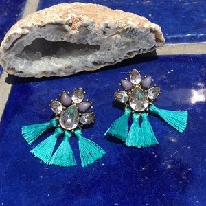 Jewelry - 🍒NWOT Turquoise mini tassel earrings